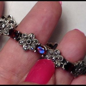 """Ruby Garnet Marcasite Spinel 7"""" Sterling Bracelet"""